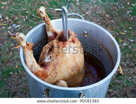 Pulling a deep fat fried turkey out of the peanut oil