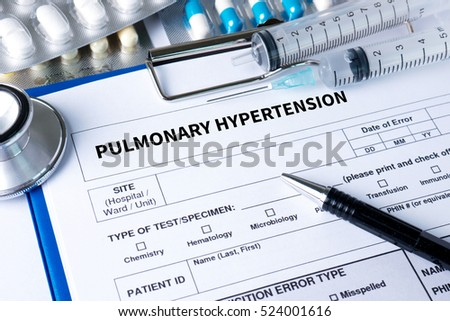 PULMONARY HYPERTENSION Medicine doctor hand working Professional doctor use computer and medical equipment all around,
