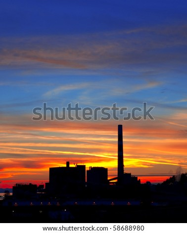 Pulp and Paper Mill at sunset.