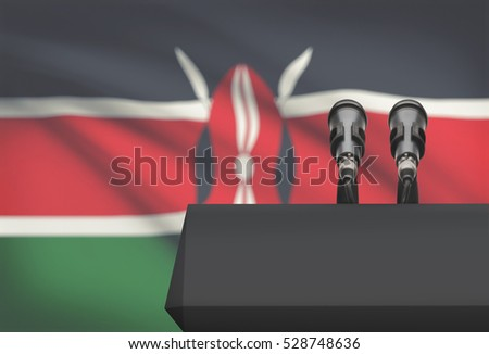 Pulpit and two microphones with a flag on background - Kenya