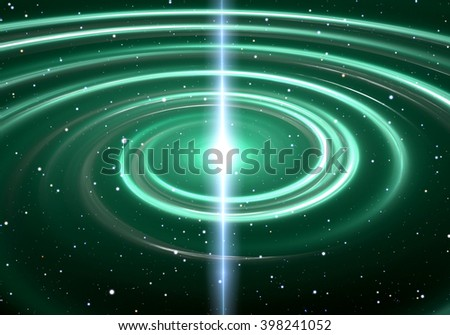 Pulsar highly magnetized, rotating neutron star - stock photo