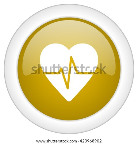 pulse icon, golden round glossy button, web and mobile app design illustration - stock photo