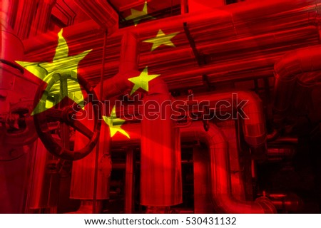 pump and gas pipeline on background of flag of China
