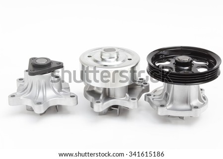 Pump cooling system of the automobile engine on a gray background