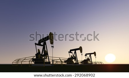 pump-jack and sunset, crisis in the oil stock in the power