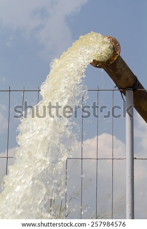 Pump water fill in reservoir , storage before drought in summer - stock photo