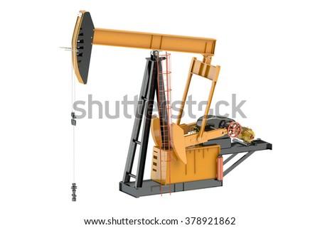 Pumpjack isolated on white background - stock photo