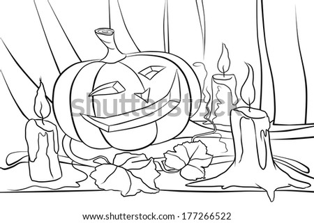 pumpkin and candles on the table - stock photo