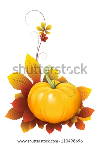 Pumpkin and falling autumn leaves on white background. Vector version available in my portfolio - stock photo