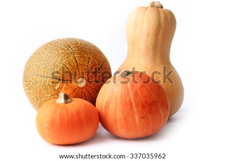 pumpkin and melon isolated on a white background - stock photo