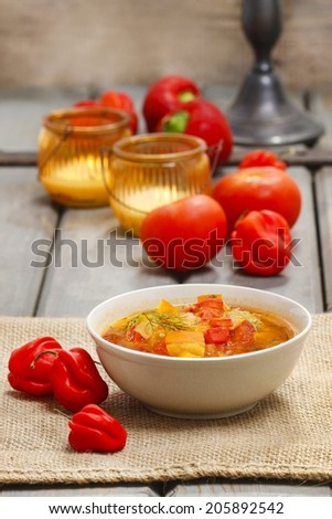 Pumpkin and pepper soup - stock photo