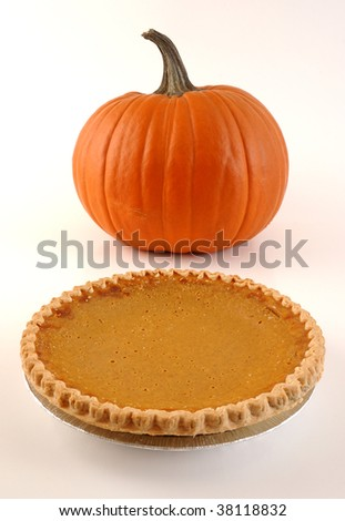 Pumpkin and Pie Hi-Key - stock photo