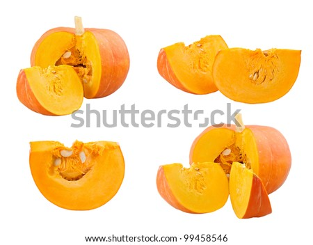 Pumpkin and slices on white background - stock photo