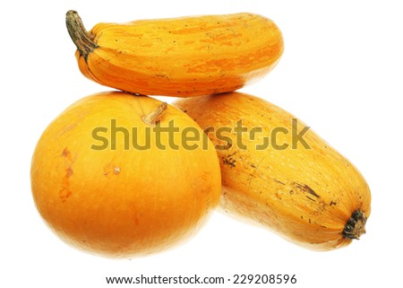 Pumpkin and two zucchini isolated over white background - stock photo