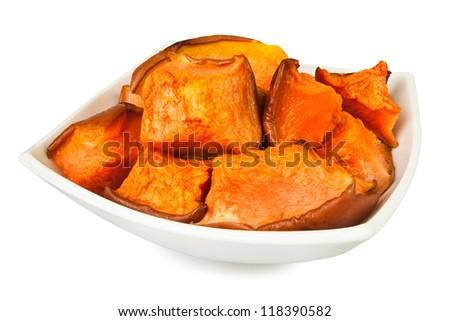 pumpkin baked bowl on white background - stock photo