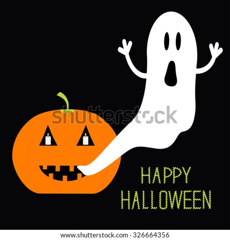 Pumpkin Candles Flying Ghost. Halloween card for kids. Flat design - stock photo