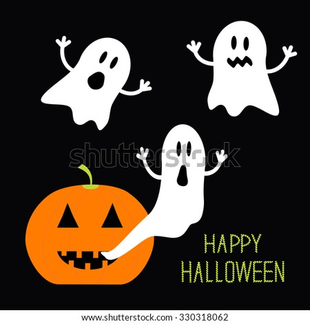 Pumpkin Candles Flying Ghost set. Halloween card for kids. Flat design.  - stock photo