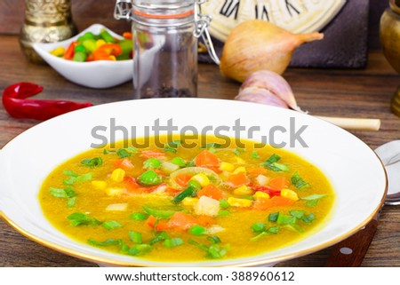Pumpkin-Carrot Soup with Mexican Vegetable Mix Studio Photo