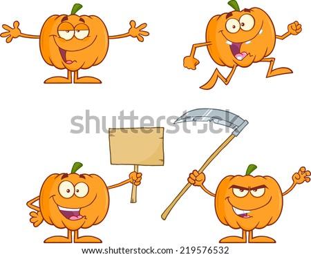 Pumpkin Cartoon Mascot Character Series 2. Raster Collection Set - stock photo