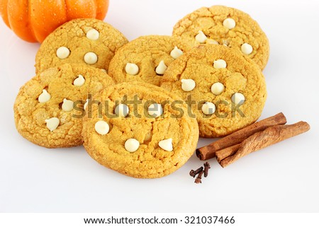 Pumpkin cookies with white chocolate chips - stock photo