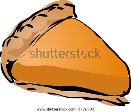 Pumpkin cream Pie, hand drawn retro illustration - stock photo