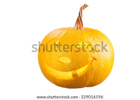 Pumpkin for Halloween on white background - stock photo
