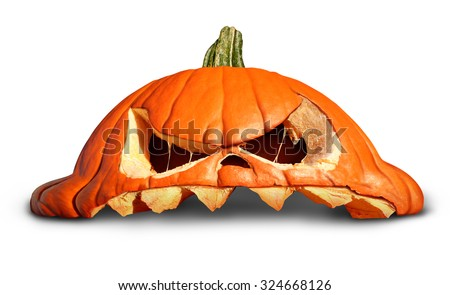 Pumpkin halloween as a broken smashed orange grinning jack o lantern symbol on a white background as an autumn concept. - stock photo
