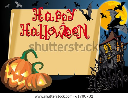 Pumpkin Halloween Card with empty blank scroll and Text. Raster version - stock photo
