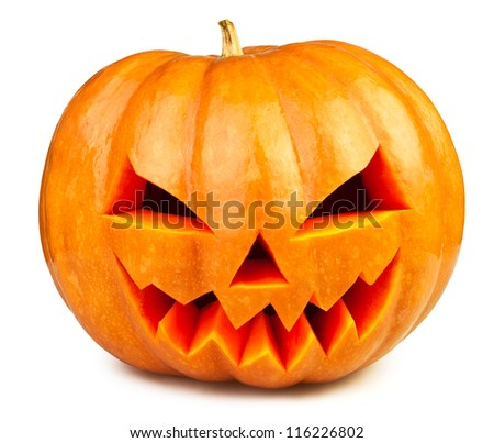 pumpkin halloween Jack O'Lantern isolated white - stock photo