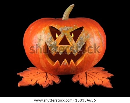 Pumpkin, halloween, old jack-o-lantern on black background with fiery flames in the eyes - stock photo