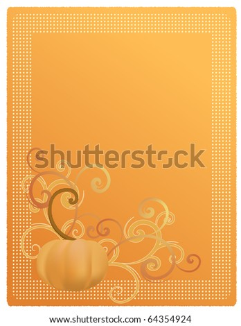 Pumpkin Harvest Illustration for Invitation, Announcement, or Menu. Also available as Vector. - stock photo