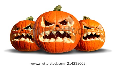 Pumpkin monster group with three scary pumpkins on a white background as a concept  and symbol for a creepy advertisement and marketing announcement for a harvest time party. - stock photo