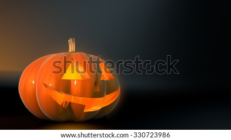 pumpkin on a dark background, 3d illustration - stock photo