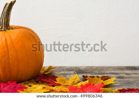Pumpkin on rustic wooden table