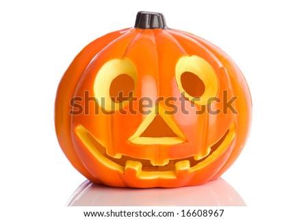 Pumpkin orange toy a over white background - stock photo