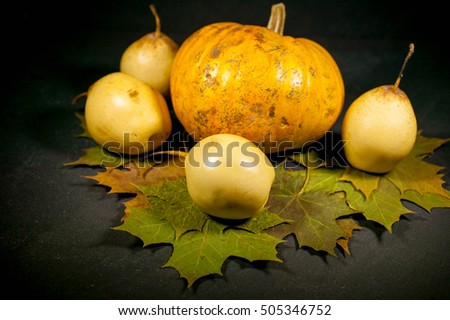 Pumpkin, pears and maple leaves. Autumn composition on a dark background. Selective focus. Vintage toning