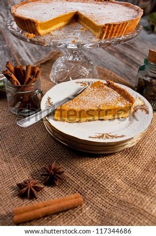 Pumpkin pie - stock photo