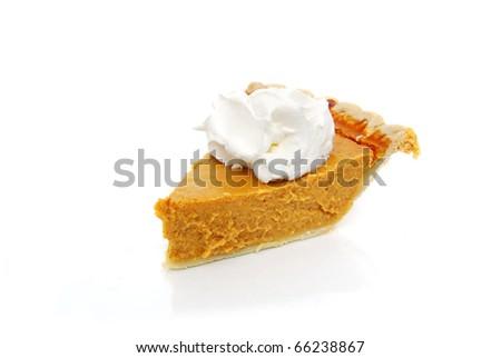 pumpkin pie white background - stock photo