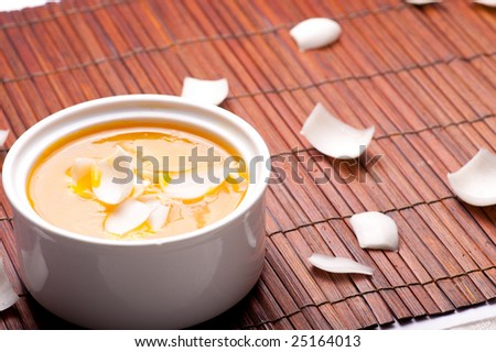 Pumpkin Sago Soup with lily - stock photo