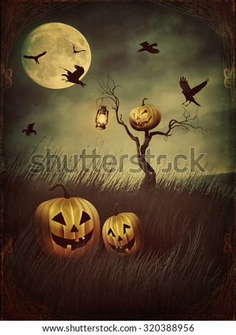Pumpkin scarecrow in fields of tall grass at night with vintage look - stock photo