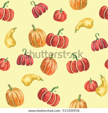 Pumpkin seamless pattern - nice colorful seamless print, combined of hand-drawn watercolor pumpkins on yellow background