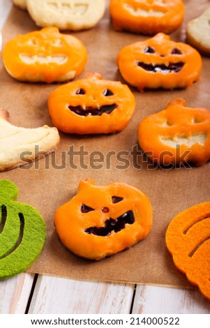 Pumpkin shape Halloween cookies