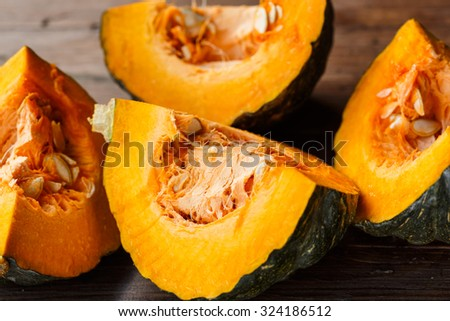 Pumpkin slices with seeds