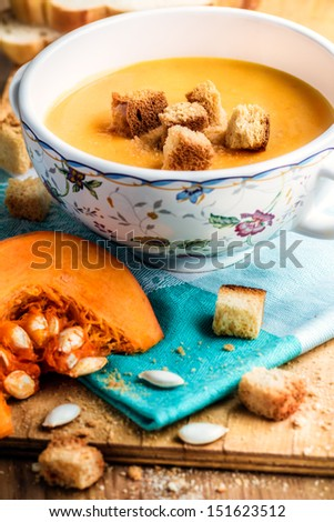 Pumpkin soup. - stock photo