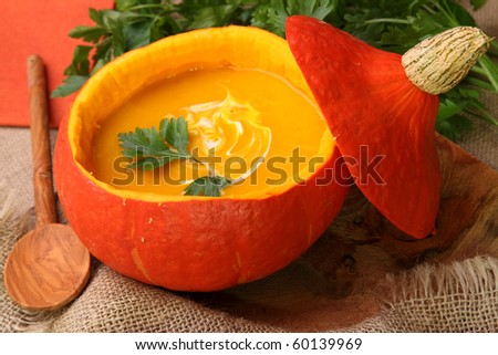 Pumpkin  soup for halloween party - stock photo