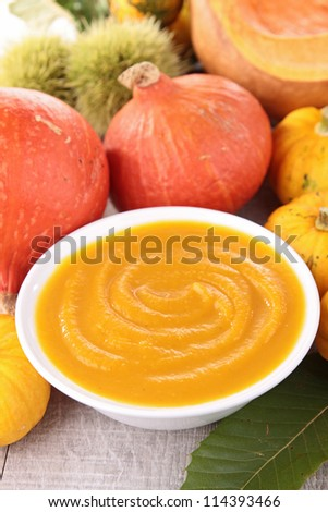 pumpkin soup/puree - stock photo