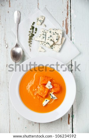 Pumpkin soup with blue cheese - stock photo