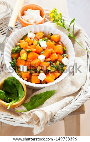 pumpkin stew with beans,zucchini and feta