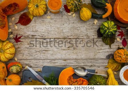 Pumpkin - Traditional seasonal pumpkin soup, space for text - stock photo