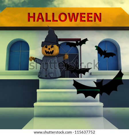 pumpkin witch on house stairs with halloween text and bats background render illustration